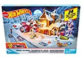 Hot Wheels Calendario dell'Avvento con Tante Sorprese Ogni Giorno, Include 8 Veicoli Decorati, 16 Accessori e Un Tappeto Gioco, FKF95