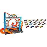 Hot Wheels Garage delle Acrobazie Playset con Pista Connettibile per Macchinine, Loop a Doppia Corsia, Ascensore e Squalo per Stimolare ...