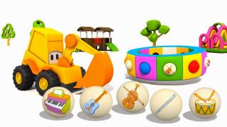 Cartoni Animati per Bambini: L'escavatore Max e gli strumenti musicali